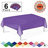 Purple Plastic Tablecloths Disposable Table Covers 6 Pack Premium 54 x 108 Inches Table Cloth for Rectangle Tables up to 8 Feet and for Picnic Birthdays Weddings any Events Occasions, PEVA Material