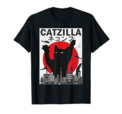 Vintage Catzilla Japanese Sunset Style Cat Kitten Lover T-Shirt