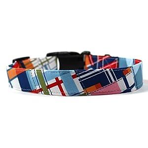 "Lake House Plaid, Summer Shirt Pattern Designer Dog Collar, Adjustable Handmade Fabric Collars (S - 3/4"")"
