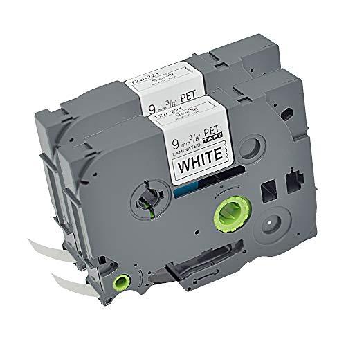- 2PK P Touch Label Tapes Tz Tze TZe-221 TZe221 TZ-221 TZ221 TZo221 Compatible with Brother Labeling Tape,Black on White 9mm 0.35