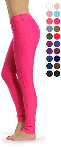 Prolific Health Women's Jean Look Jeggings Tights Yoga Many Colors Spandex Leggings Pants S-XXL (Small, Fuchsia)