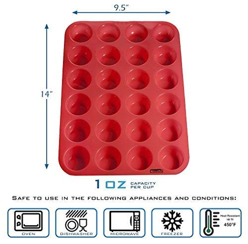 Oven Cupcake Baking Pan 24 Cup Size BPA Free Non Stick Easy To Clean Microwave Dishwasher Heat Resistant Up To 450F by Laminas Freezer safe Silicone Mini Muffin Plus Free Recipe eBook