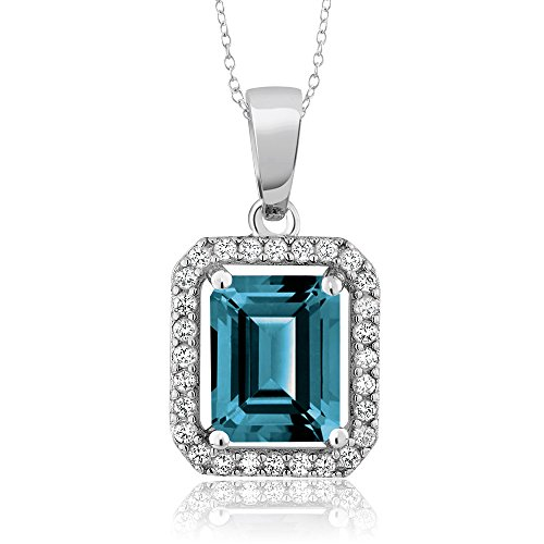 London Blue Topaz 925 Sterling Silver Pendant Necklace 2.66 Ctw Emerald Cut with 18 Inch Silver Chain