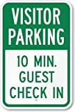Visitor Parking, 10 Min. Guest Check In Sign, 18'' x 12''