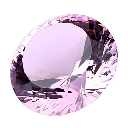 Pink Crystal Glass Diamond Shaped Decoration 80mm Jewel