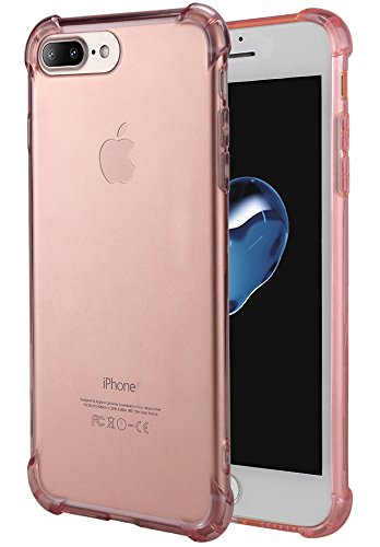 Clear Pink Case - for iPhone 7 Plus Case, for iPhone 8 Plus Case, Matone Crystal Clear Shock Absorption Technology Bumper Soft TPU Cover Case for iPhone 7 Plus (2016)/iPhone 8 Plus (2017) - Clear Pink