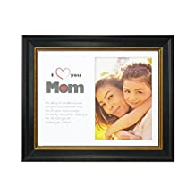 Golden State Art, I Love Mom Frame Collection, 8x10 Black with Gold & Burgundy Lines Frame for 5x7 Photo with White Mat, Table-Top Easel Stand, & Real Glass (8x10 for 5x7 Photo)