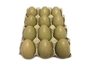 Dozen Wooden Faux Chicken Eggs (Brown Speckled)