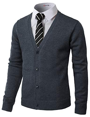 H2H Mens Fashion Basic Button Front Marble Color Cardigan Navy US L/Asia XL (CMOCAL017) (Button Front Jumper)