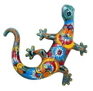 Large Multi-Color Mexican Talavera Lizard Gecko Salamander (Green Base)