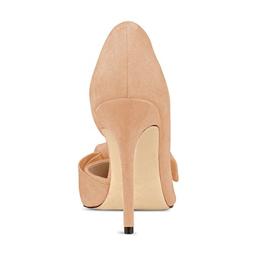 Size Heels High FSJ Toe Suede 15 US Chic D'Orsay Shoes with Pumps Pointy 4 Dress Bowknot Nude Women BCwBqPO