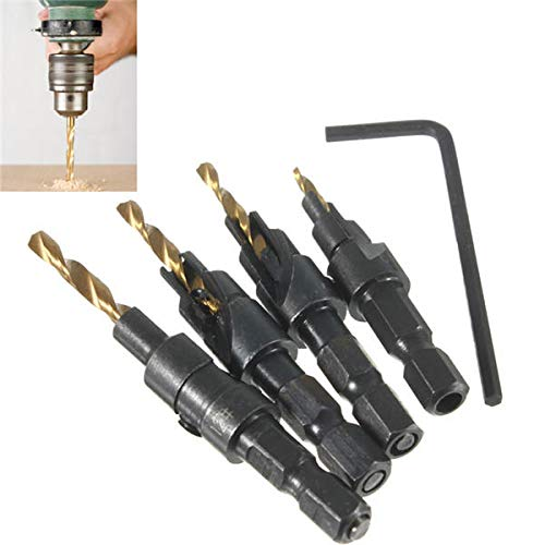 4PCS Woodworking Countersink Drill Bit Set 1//4 Hex Shank Counterbore