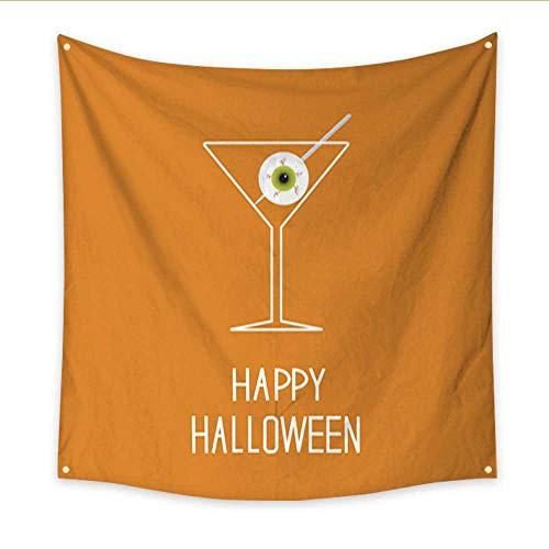 Anniutwo Modern Art Tapestry Martini Glass with Eyeball Halloween Card Dorm Living Room Bedroom 47W x 47L Inch -