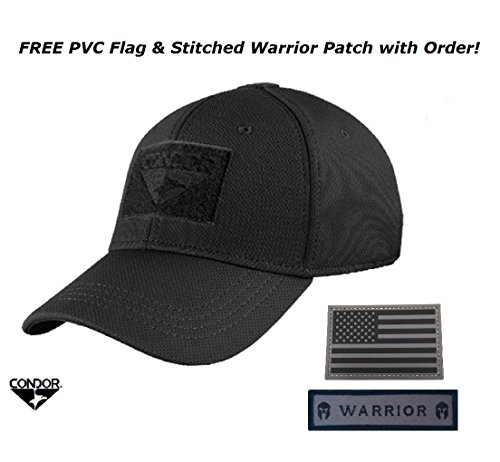 Condor Flex Tactical Cap (Black, L/XL) + FREE PVC Velcro Flag Patch