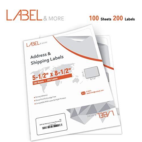 LABEL&MORE Half Sheet Self Adhesive Shipping Labels 5-1 2