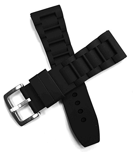 Sanwa Mens 26mm Black Silicone Rubber Diver Watch Band Waterproof Sport Stainless Steel Buckle