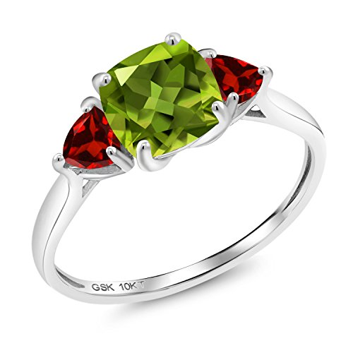 2.38 Ct Cushion Green Peridot Red Garnet 10K White Gold 3 Stone Meghan Ring -
