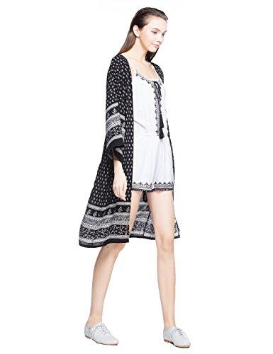 ZLYC Damen Summer Boho Swim Strand Cover up Kimono Stil Strickjacke für Bikini Beachwear Beach Kleid