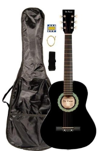 36'' Inch 3/4 Scale Size Black Student Beginner Acoustic Guitar with ''Learn to Play Guitar DVD'' and Carrying Case & Accessories & DirectlyCheap(TM) Blue Medium Guitar Pick (A-PRO Series) [Teacher Approved] by Directly Cheap