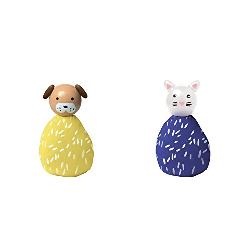 Manhattan Toy MiO Wooden Bean Bag Animal Peg Doll Toys - Dog & Cat Imaginative Play Characters - Cat Bean Bag Toy