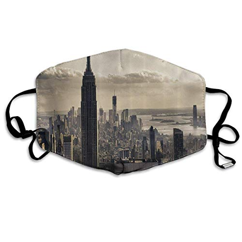 Jliming Aerial View of NYC in Winter Time American Architecture Historical Popular Metropolis Anti-dust Cotton Mouth Face Masks Mouth Cover for Man and Woman