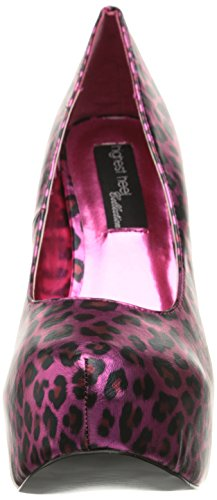 Alto Femminile Fuschia Pompa Poliuretano Tacco Kissable Leopardo Rxw8q8pd