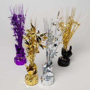 BALLOON WEIGHT/TINSEL CENTERPCE NEW YEARS 3DESIGNS/4 COLORS, Case Pack of 24