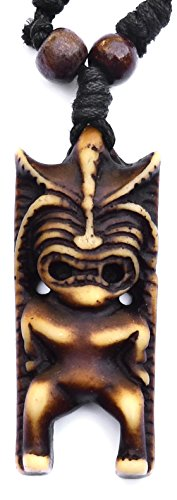 Tiki Man Pendant - Tiki God Amulet - Totem Necklace - Good Luck Charm Jewelry - Adjustable Cord