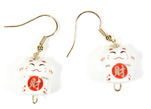 ARThouse Little Maneki Neko Beckoning Lucky White Cat Porcelain Earrings, Dangle 1.5 Inches