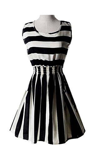 Stripes Women s ARJOSA Summer Casual White Short Sleeveless Dress Black Chiffon R4qRUdI
