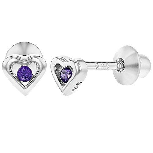 5f138c48ca5e ... Corazón con Cierre de Rosca para Niñas. 80% OFF In Season Jewelry - 925  Plata de Ley Circonita Morada Aretes Pequeño de