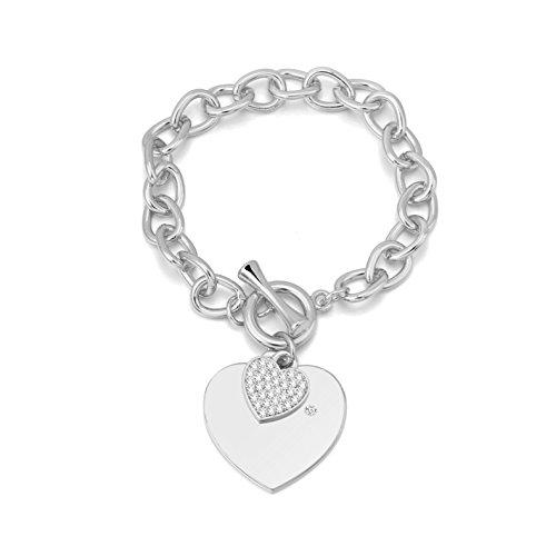 Crystal Pave Link Bracelet - Ouran Women's Charm Bracelet,Heart Shape Pendant Bracelet Girls Silver Plated Link Chain Bracelet with Crystal (Silver Plated)