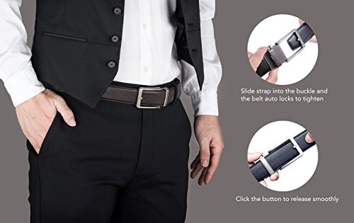 Gift Box–Comfort Custom Sliding Grain Full Buckle with Full Dress a Genuine Fit Click Free Leather Ratchet Nickel Genuine Belt in Grain Belt Leather Black 7AExP