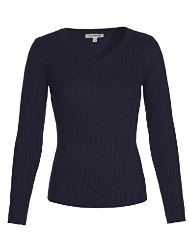 Luna Flower Women's Classic Basic Solid V-Neck Slim Fit Cable Ribbed Thin Pullover Strechy Knit Sweater Tops NAVY L