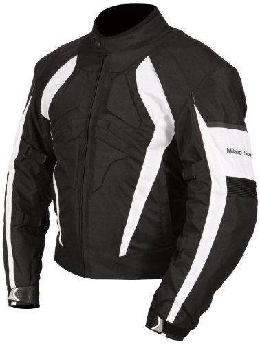 Milano Sport Gamma Motorcycle Jacket with White Accent (Black, Small) by Milano Sport (Image #1)