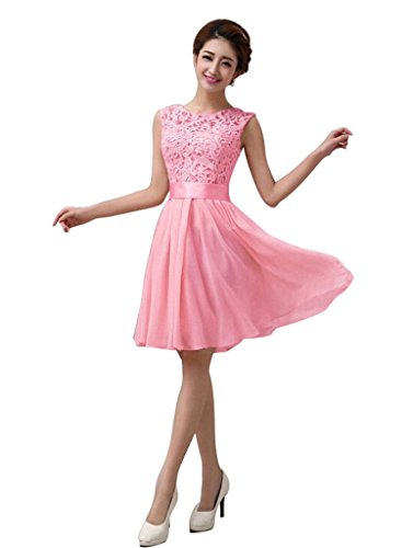Xuerry Women Sleeveless Bodycon Lace Chiffon Cocktail Party Prom Dresses M pink