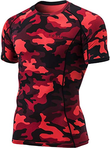 Red Camouflage T-shirt - TSLA Mens Cool Dry Compression Baselayer Short Sleeve T-Shirt, Athletic(mub23) - Camo Red, Large