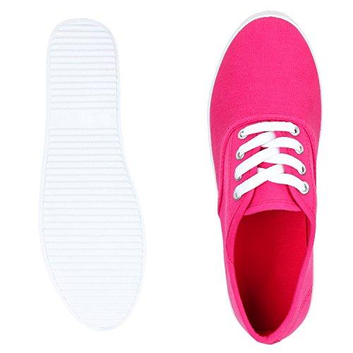 best-boots Damen Ballerinas Sneaker Schnürer Slipper Halbschuhe sportlich Pink Nuovo