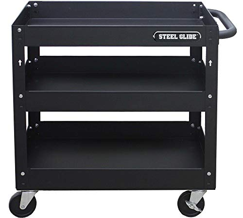 Steel Glide 3-Tray Industrial Commercial Service Cart, 300 LB Capacity, Black 28.1 x 17 x 30 in. on wheels