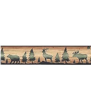 Wallpaper Border David Carter Brown Lodge Bear, Deer & Elk Silhouettes on Faux Wood