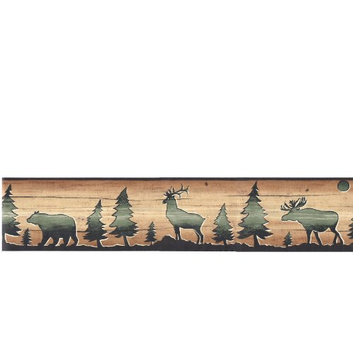 Wallpaper Border David Carter Brown Lodge Bear, Deer & Elk Silhouettes on Faux Wood