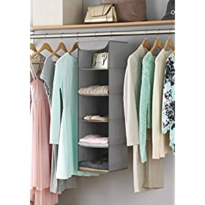 Whitmor 5 Section Closet Organizer – Hanging Shelves with Sturdy Metal Frame