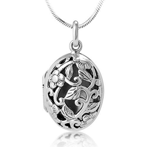 Chuvora 925 Sterling Silver Open Filigree Floral Design Oval Shaped Locket Pendant Necklace, 18 inches