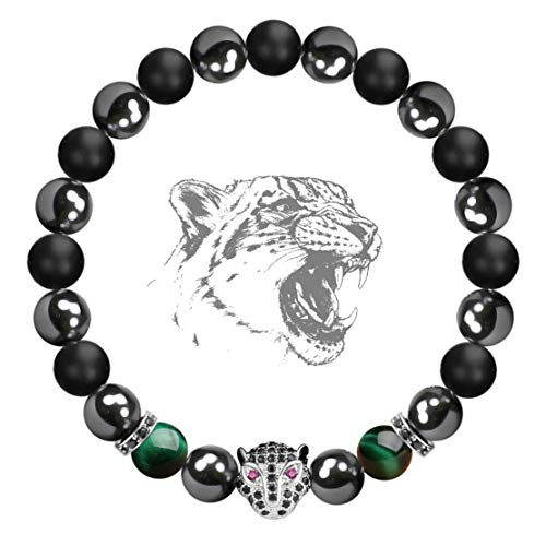 Karseer Black Panther Anxiety Bracelet, 8MM Natural Stone Healing Crystal and Magnetic Energy Balance Beaded Elastic Bracelet, Handmade Prayer Meditation Stress Relief Gemstone Bracelet (White Gold) ()