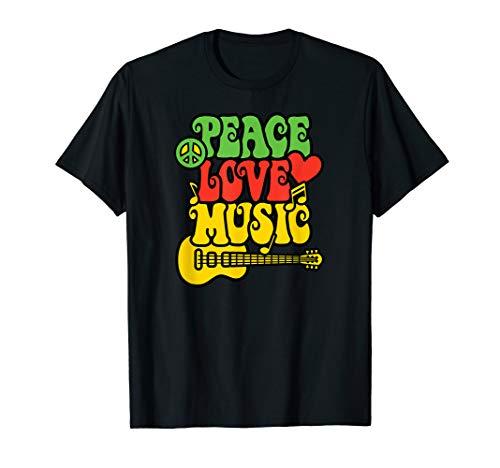 PEACE LOVE MUSIC Rock & Roll Reggae Guitar Design T ()