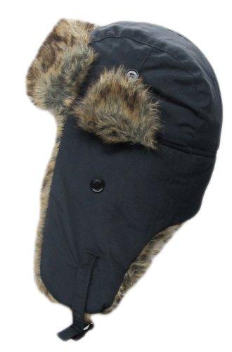 Dakota Dan Trooper Ear Flap Cap w/Faux Fur Lining Hat (Black/Brown)