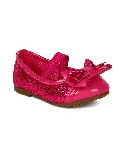 Cap Toe Bow - JELLYBEANS Girl Glitter Leatherette Cap Toe Bow Decor Mary Jane Ballerina Flat (Toddler) BA29 - Fuchsia (Size: Toddler 4)