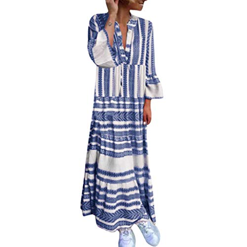 Women Dress,Caopixx Ladies Summer Deep V Multicolor Stripe Maxi Dress Casual Button Down Beach Sundress (Asia Size XL, C-Green)