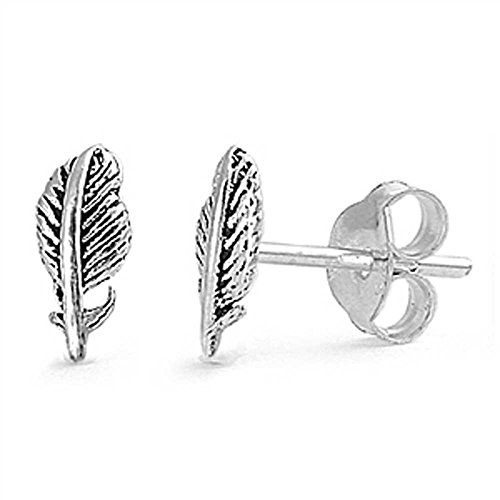 Indian Feather .925 Italian Sterling Silver Small Post Stud Earrings (Pierced Ears)