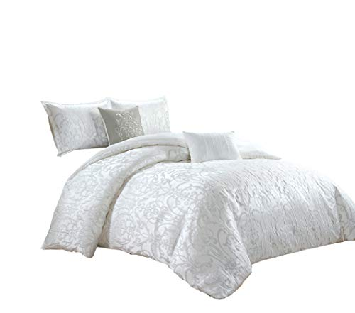 Chezmoi Collection Gloria 5-Piece Luxury Clip Jacquard Floral Textured Comforter Set - White - Queen Size